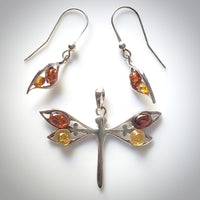 dragonfly silver pendant with earrings
