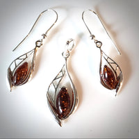 elegant sterling silver amber jewelry set
