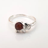 elephant silver amber kids half-finger ring