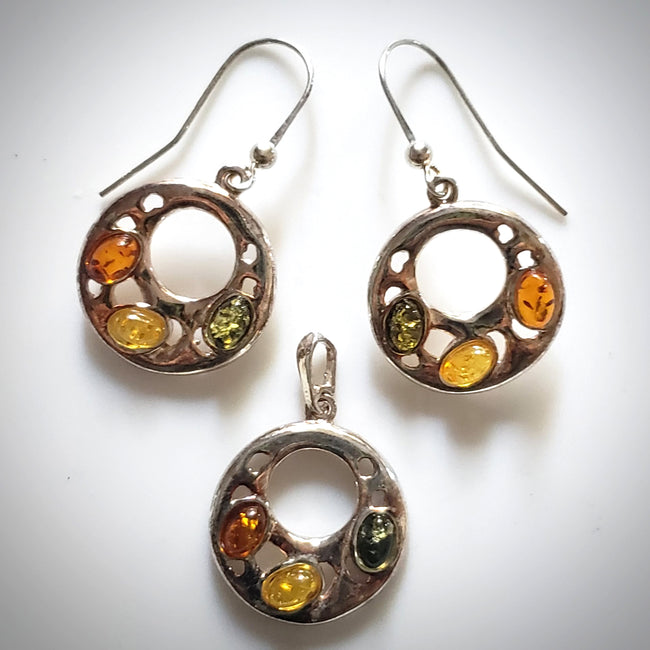 fashion sterling silver amber jewelry set