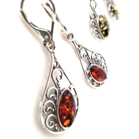 filigree sterling silver amber earrings