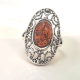 sterling silver amber handcrafted amber ring