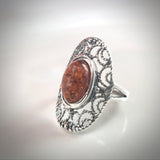 filigree silver oval amber ring