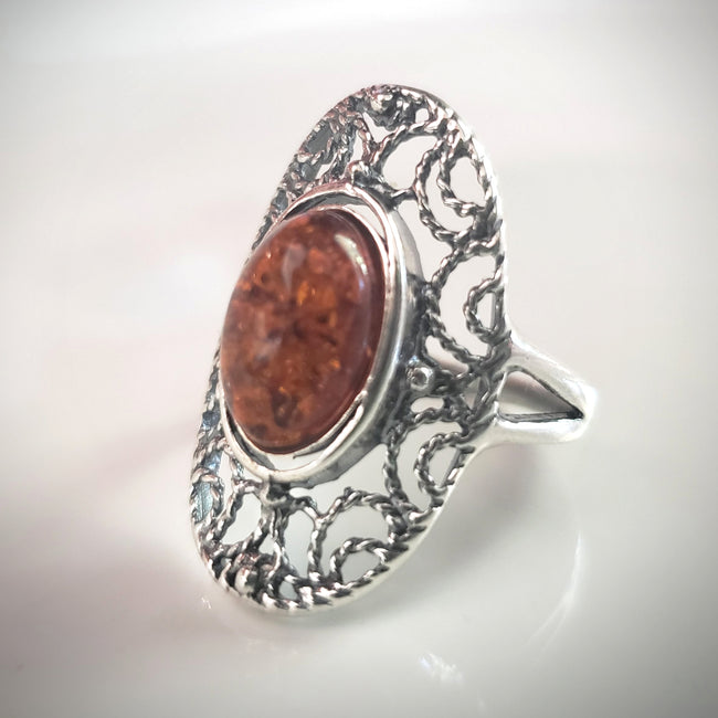 filigree sterling silver oval amber ring
