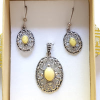 filigree sterling silver butterscotch amber earrings pendant set