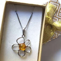 flower pendant with silver chain in gift box
