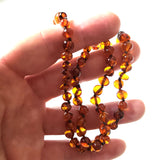 round free form cognac amber bead necklace