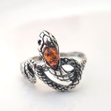 silver snake with natural amber ring