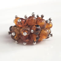grape natural amber silver ring