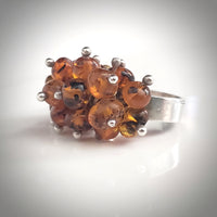 grape amber silver ring