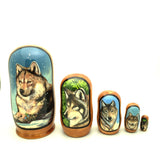 "Wolf Nesting Doll Set 4"" Tall"