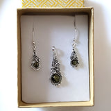 natural green amber in sterling silver earrings pendant set in gifts box
