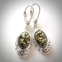 Baltic green amber in sterling silver earrings