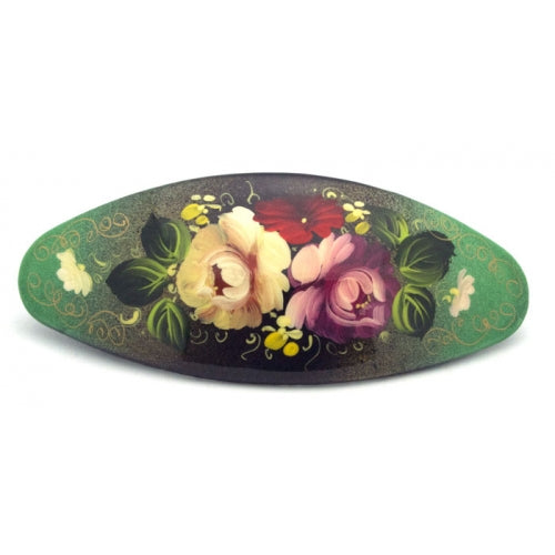 Green hair barrette with flowers