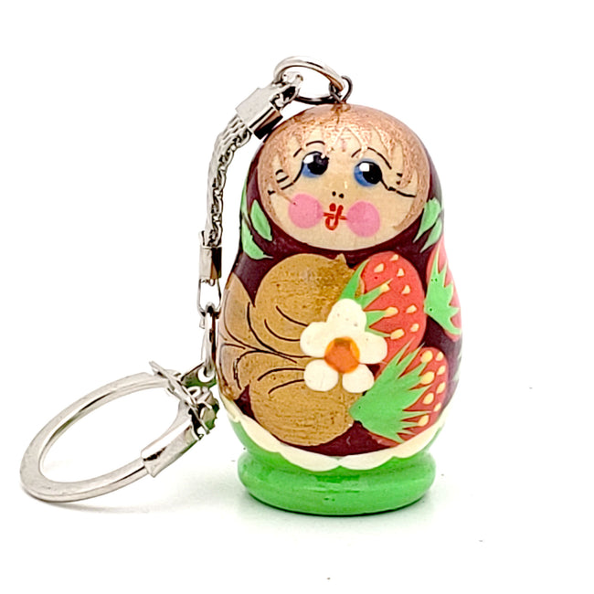 Green Nesting Doll Keychain with Strawberry
