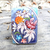 Flower Ring Hand Painted Mother-of-Pearl Sterling Silver