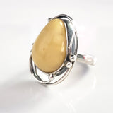 antique butterscotch amber silver ring