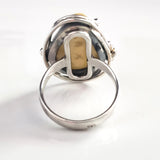 sterling silver amber handcrafted ring