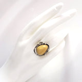 medium butterscotch oval amber ring