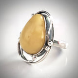 handmade silver butterscotch amber ring