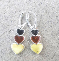 Heart long earrings silver amber