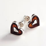 Cognac Amber in Silver Heart Stud Earrings
