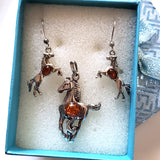 horse silver amber earrings pendant jewelry set