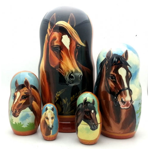 buyrussiangifts-store - Horse Nesting Doll 5 piece set 7