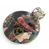 "Vislana Hand Painted Pendant inspired by ""The Brunette"", Mucha"