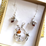 hummingbird with rose silver pendant earrings  jewelry set