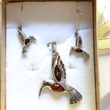 Hummingbird silver amber jewelry set in gift box