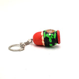 Red Blue Strawberry Nesting Doll Keychain