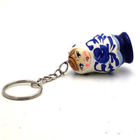buyrussiangifts-store - White Matryoshka Doll Keychain with Blue Flowers - BuyRussianGifts Store - Souvenirs