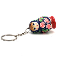 buyrussiangifts-store - Blue with Pink Rose Nesting Doll Keychain - BuyRussianGifts Store - Souvenirs