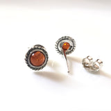children silver amber stud earrings