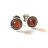 natural amber silver stud earrings