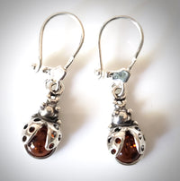 ladybug amber silver earrings