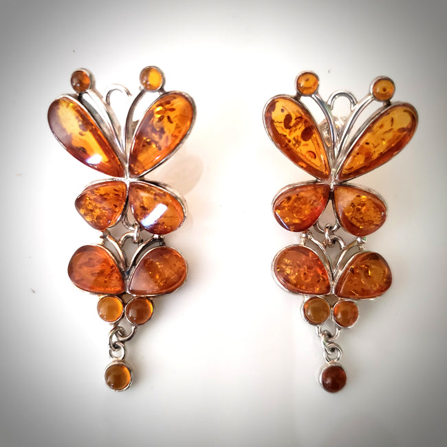 large butterfly long silver amber earrings