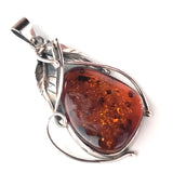 antique amber pendant in silver