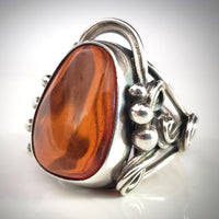 large oval cherry natural amber silver ring