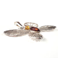 Large Butterfly Amber & Sterling Silver Pendant