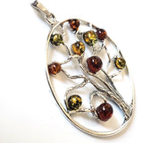 sterling silver amber tree of life pendant