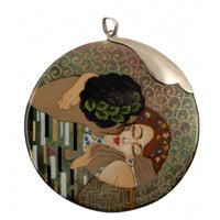 Large Hand Painted Silver Top Pendant Inspired by The Kiss Klimt