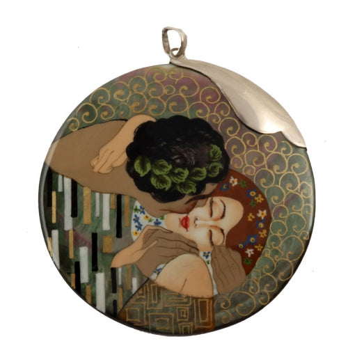 buyrussiangifts-store - Large Hand Painted Silver Top Pendant Inspired by The Kiss Klimt - BuyRussianGifts Store - MOTHER OF PEARL HAND PAINTED JEWELRY
