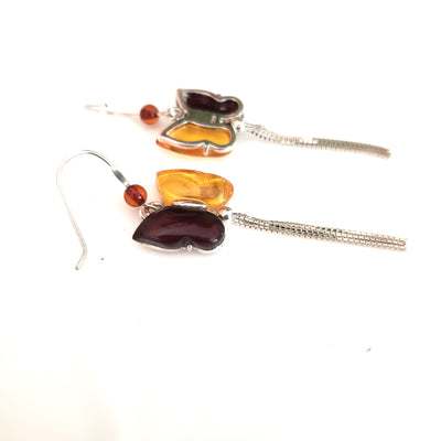 Butterfly Cherry / Lemon Amber & Sterling Silver Earrings