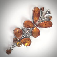 Butterfly Cognac Amber & Sterling Silver Long Pendant
