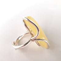 yellow amber silver ring