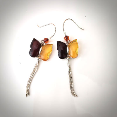 long tail butterfly amber earrings
