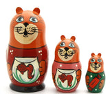 buyrussiangifts-store - Cat with fish bowl nesting Doll Set - BuyRussianGifts Store - Nesting doll