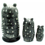 buyrussiangifts-store - Gray Owl Nesting Set - BuyRussianGifts Store - Nesting doll